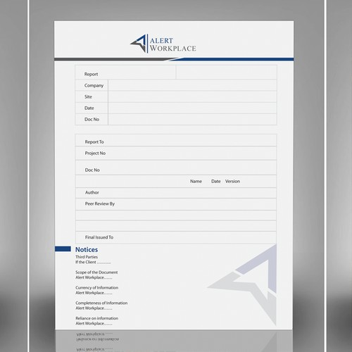 create a report template for Alert Workplace