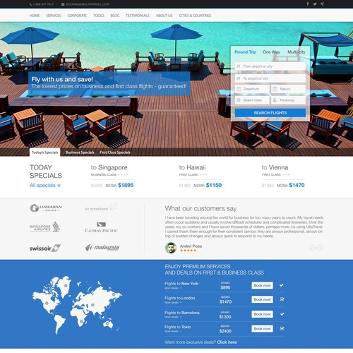Design Travel Site Front Page