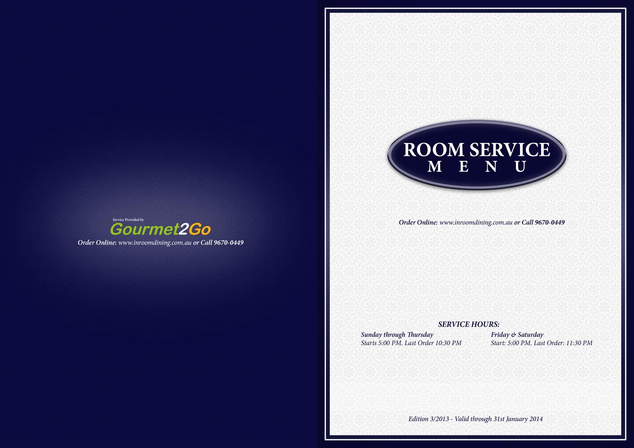 Food and Drinks Room Service Menu for the most recognised 4 start hotels chains