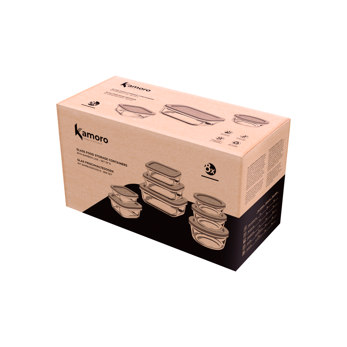 Packaging design for Set of 8 glass containers with bamboo lid