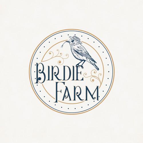 Sweet, hand-drawn birdie farm logo with beautiful small bird with a straw hat