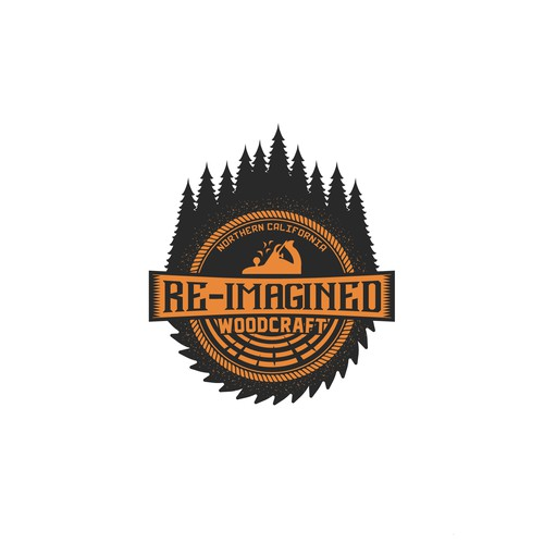 Hipster logo for woodcraft company.