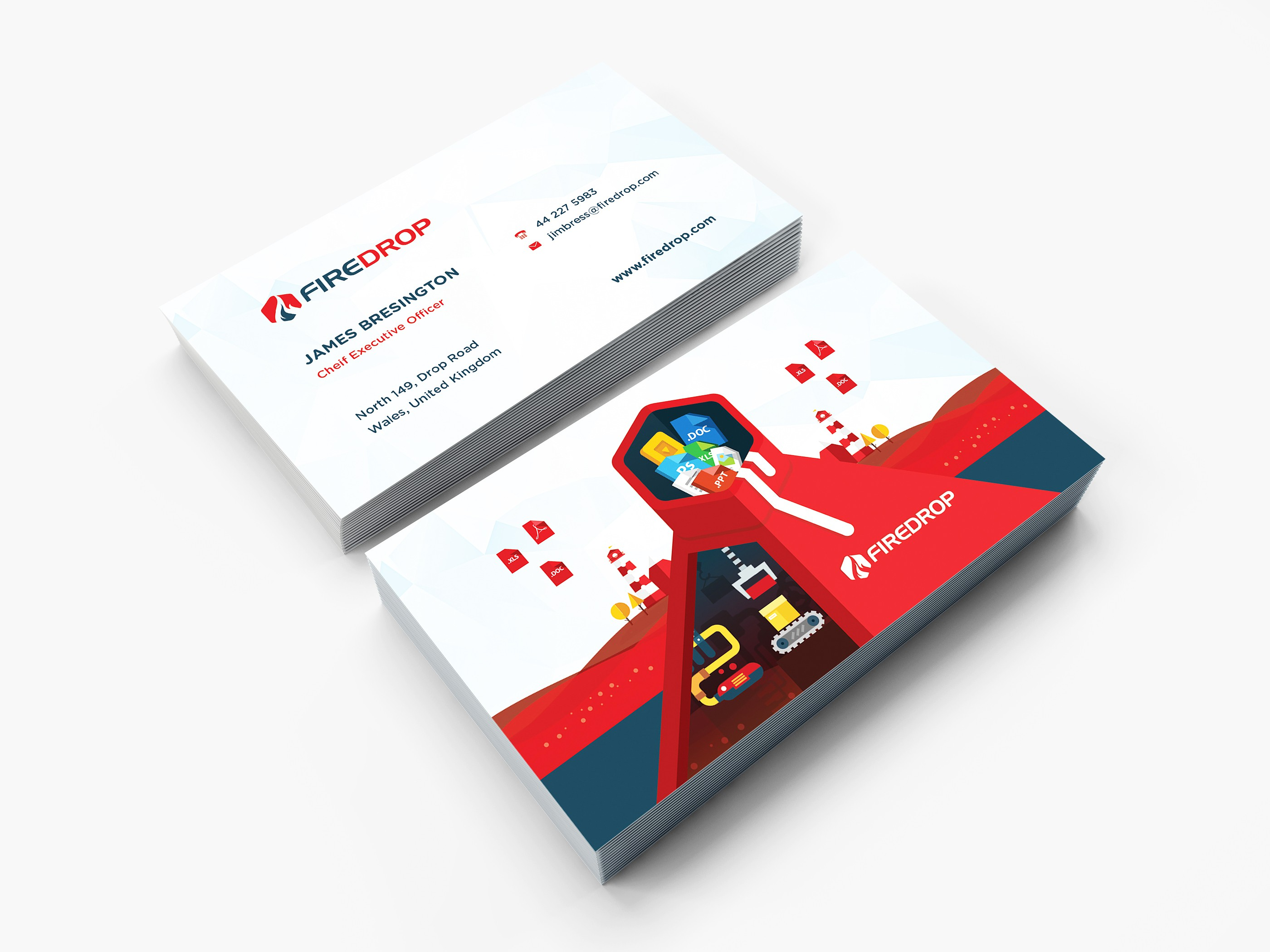 Firedrop Business Cards & Sales copy Page