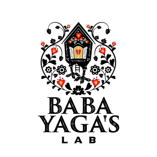 baba yaga's lab ornamental illustrative logo