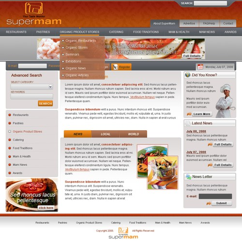 Web page design for Restaurants Catalog