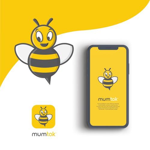 Honey bee logo for social platform chat