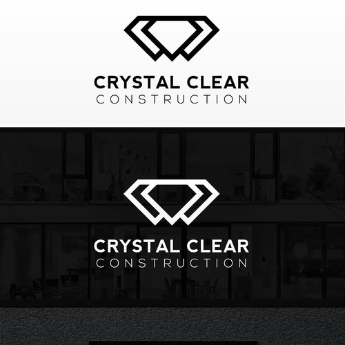 Crystal clear construction logo and business card