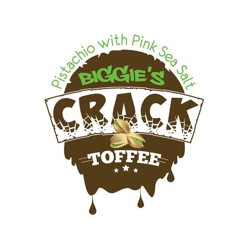 Create a logo for the delicious addictive treat, Biggie's Crack Toffee!