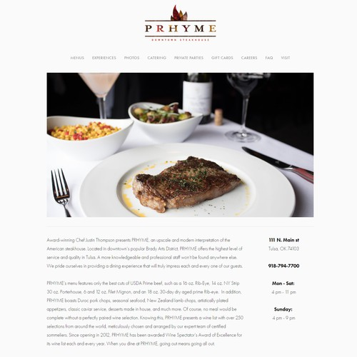 PRHYME Downtown Steakhouse Website