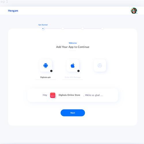 App creation process UI design for a Marketing WebApp