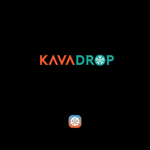 KavaDrop is a Bold fun logo for Kava Kava shipping and distribution company
