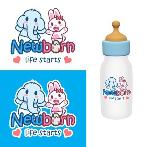 Baby Elephant and rabbit Logo