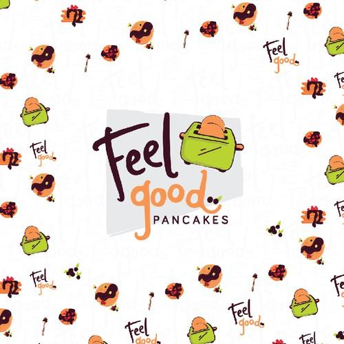 Hand drawn whimsical pancake toaster