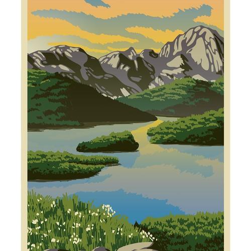 Mount and lake