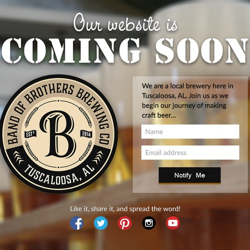 Landing page for a craft brewery