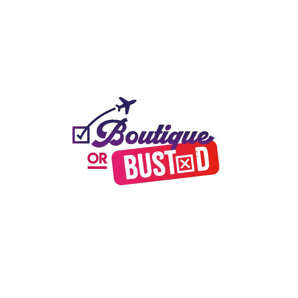 """Design fun modern logo for a review travel blog """"Boutique or Busted"""""""