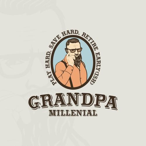 Handdrawn hipster man logo