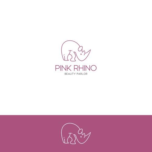 Create a professionally rad Pink Rhino logo for my salon!