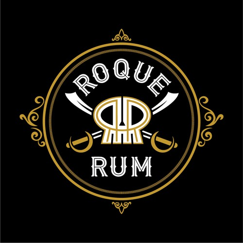 Vintage pirate themed logo for Roque Rum