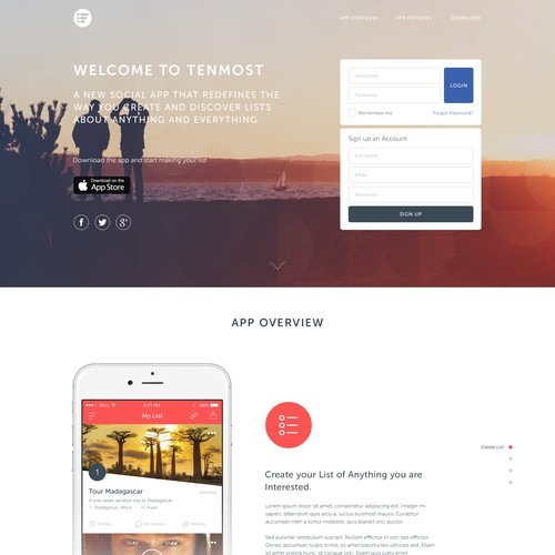 Tenmost Landing Page