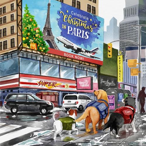 Children's books Illustration of rescue dogs.