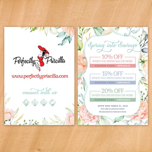 Postcard design for spring fashion sale
