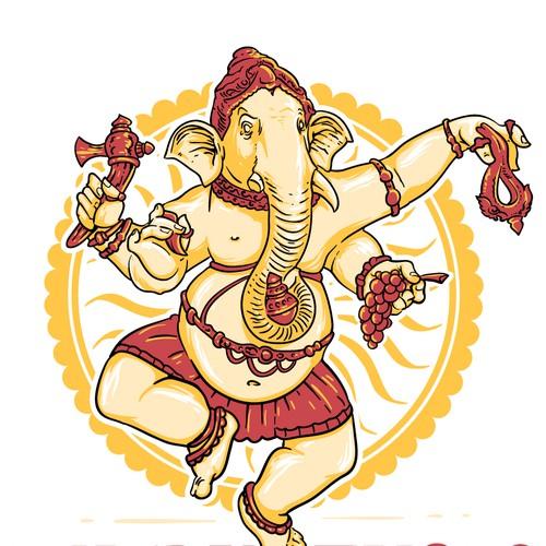 Ganesha logo mascot for martial arts studio.