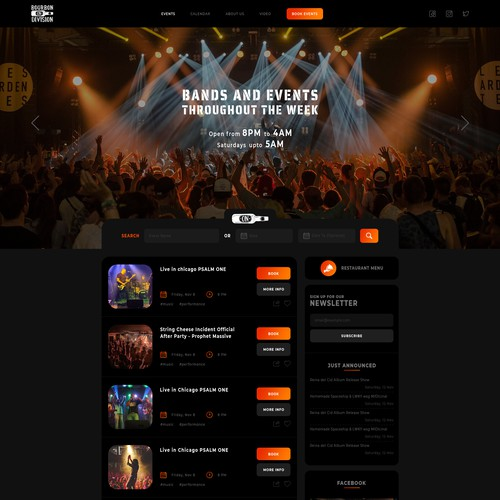 Web page design for Bourbon on Division