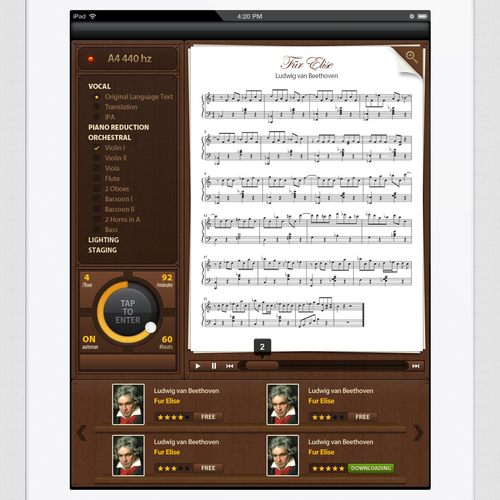 Award + additional work: iPad music notation wireframe -> eye-popping screenshot!!