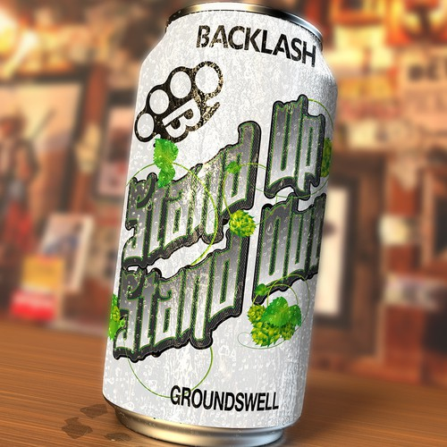 Bold label concept for backlash brewing company