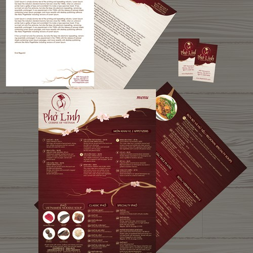 Authentic Vietnamese Restaurant Menu and Business Collaterals