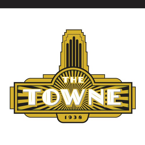The Towne Theatre, an historic, 1938 Art Deco Movie Palace logo design!