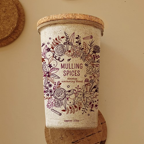 Mulling Spice label for kraft paper container.