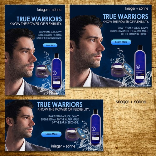 Create a banner ad series for a Hot, New, Mens Shampoo Product