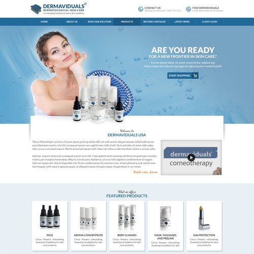 Create an exciting website design for a new & innovative skin care company.