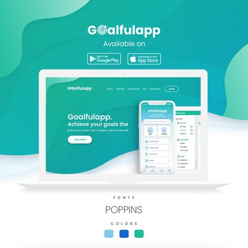 Homepage for goalfulapp