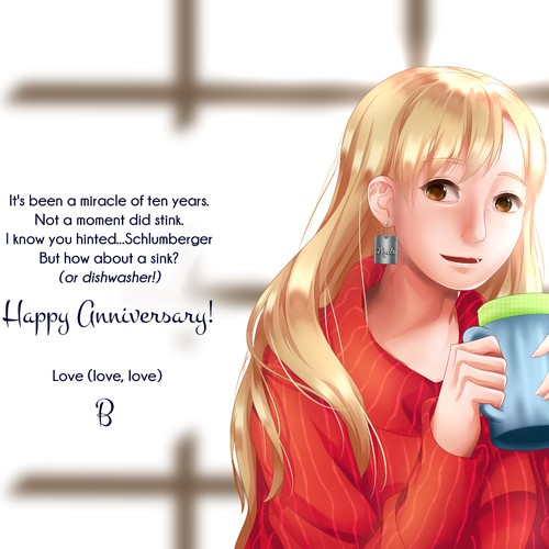Illustration for Anniversary Card