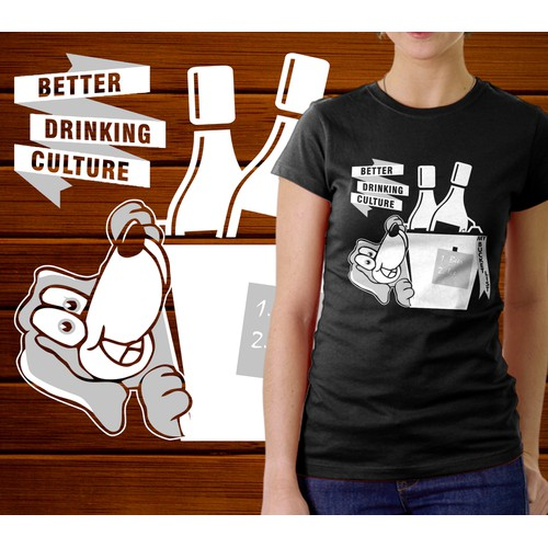T-shirt illustration of personified animal for Better Drinking Culture Lifestyle Brand