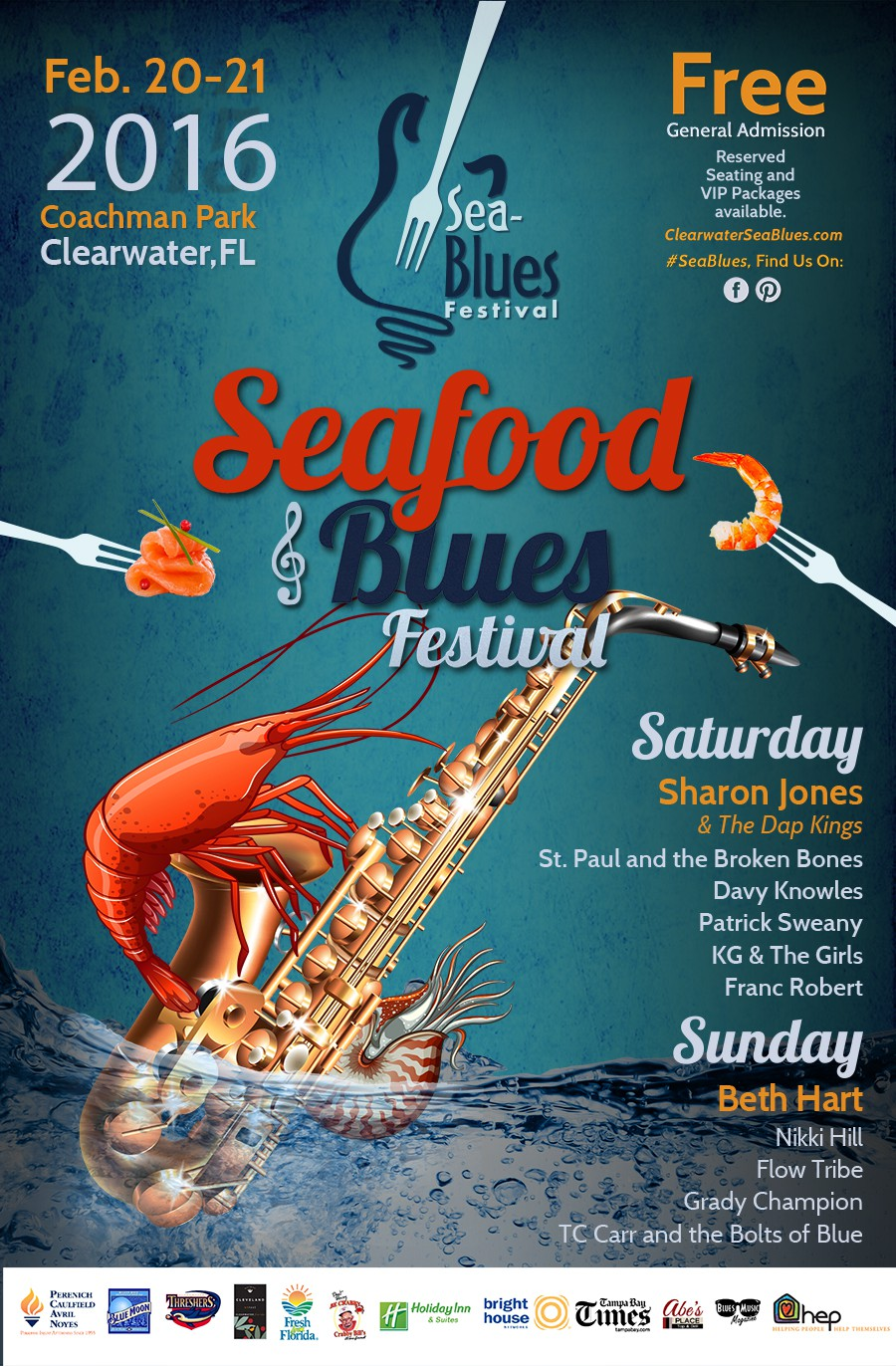 Clearwater Sea-Blues Poster