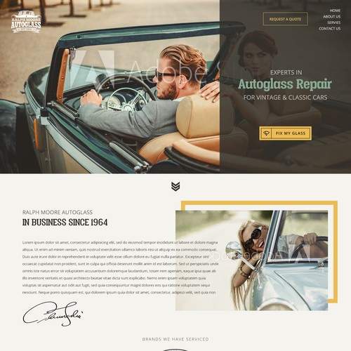 Vintaged webdesign for retro cars windshield repair