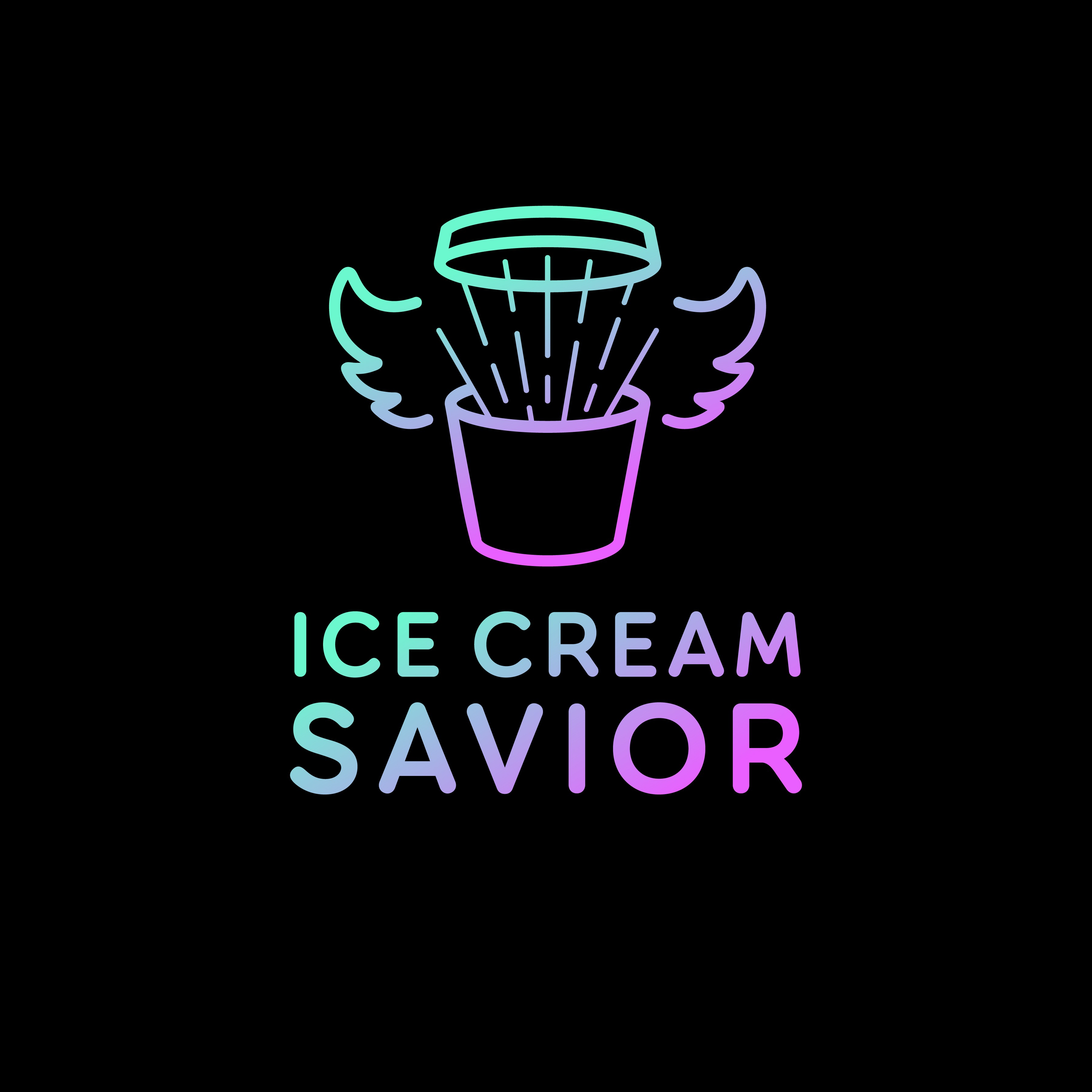 """Ice Cream Savior. A cheeky logo for the product that """"Saves"""" your ice cream"""