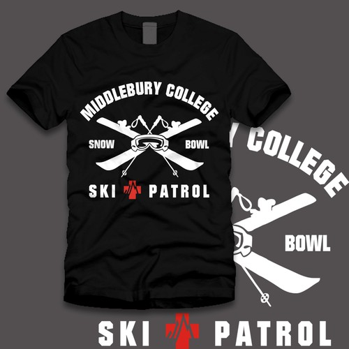 t-shirt design for Middlebury Snow Bowl Ski Patrol