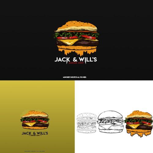 Hippie logo style burger logo