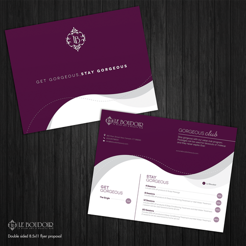Create a  modern and sophisticated flyer to promote Blow Dry packages