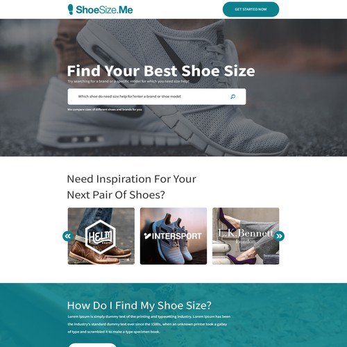 B2B Technology website: Compare shoes to buy right size online.
