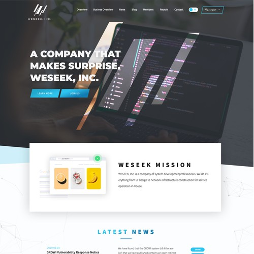 Beautiful design for a company website.