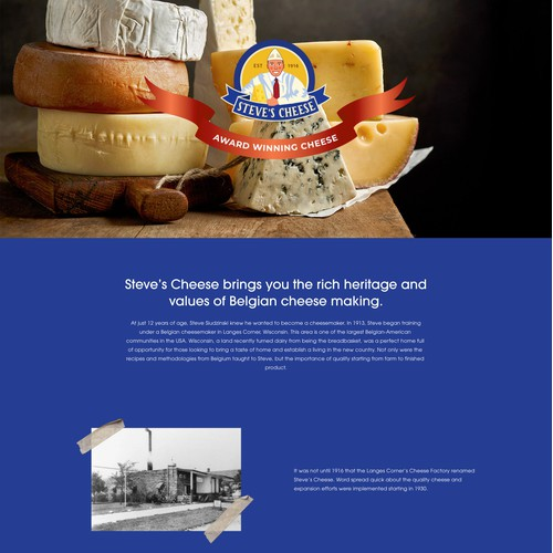 Landing page for a cheese brand