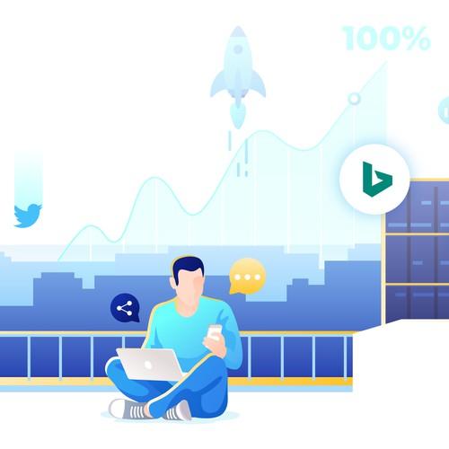Modern Digital Marketing Illustration