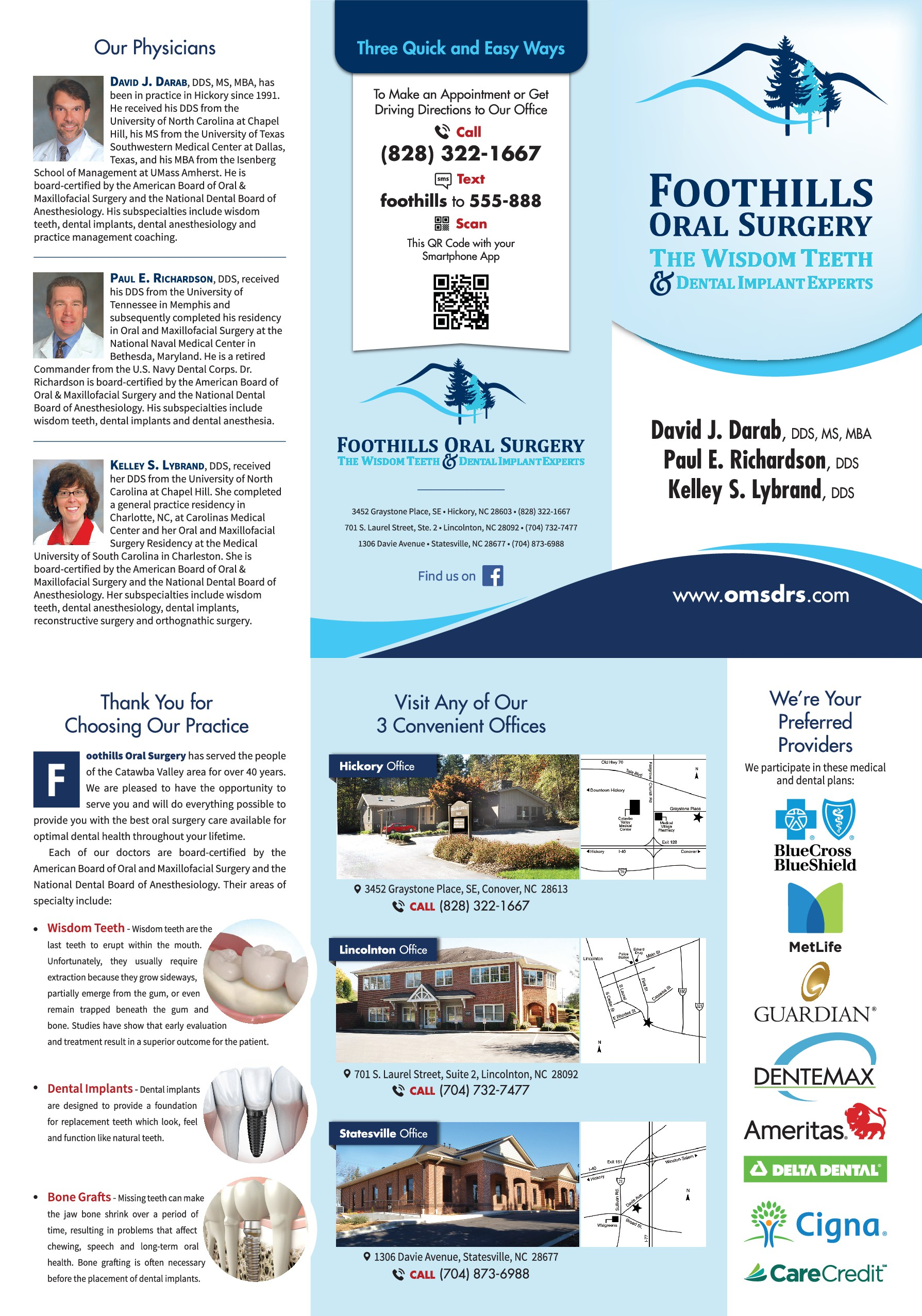 FOOTHILLS ORAL SURGERY BROCHURE
