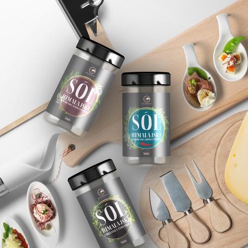 A label design for premium salt brand with premium spices and unique mixtures